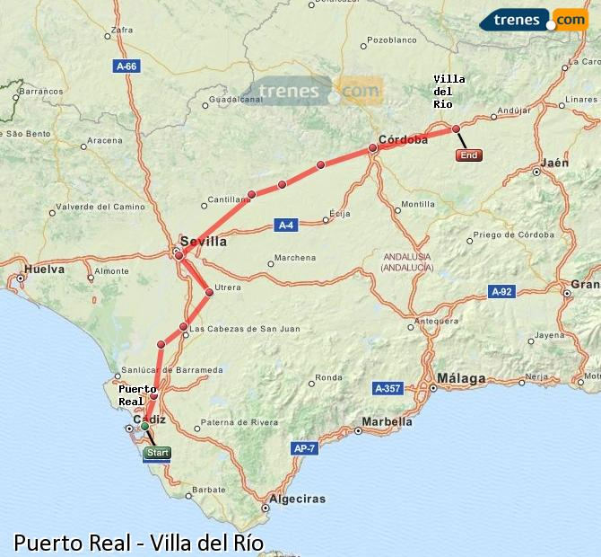 Enlarge map Trains Puerto Real to Villa del Rio
