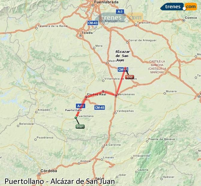 Enlarge map Trains Puertollano to Alcazar de San Juan