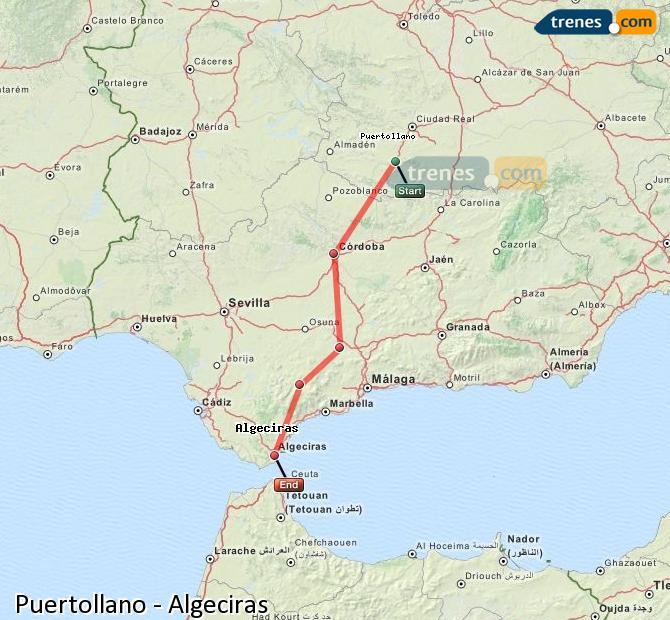 Agrandir la carte Trains Puertollano Algésiras