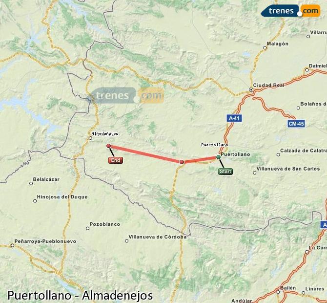 Ampliar mapa Trenes Puertollano Almadenejos