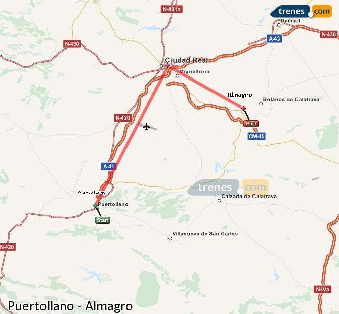 Enlarge map Trains Puertollano to Almagro