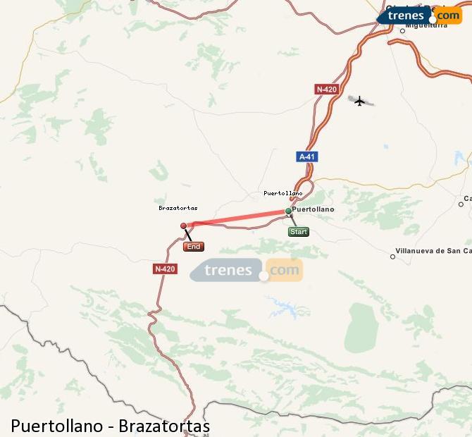 Enlarge map Trains Puertollano to Brazatortas