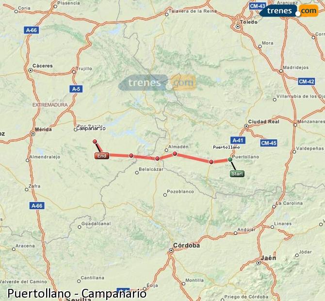 Ampliar mapa Trenes Puertollano Campanario