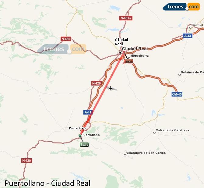 Ampliar mapa Trenes Puertollano Ciudad Real