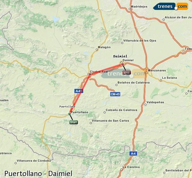 Enlarge map Trains Puertollano to Daimiel