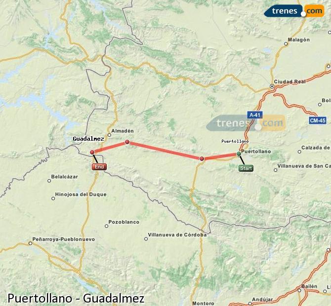 Ingrandisci la mappa Treni Puertollano Guadalmez