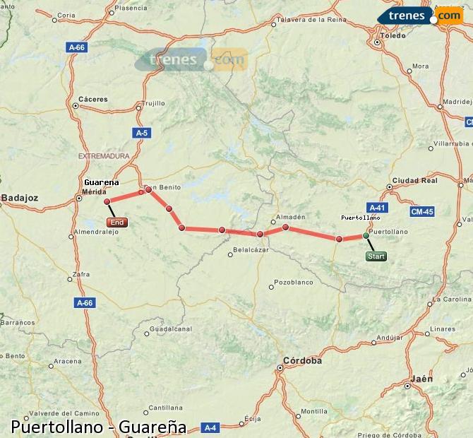 Ampliar mapa Comboios Puertollano Guareña