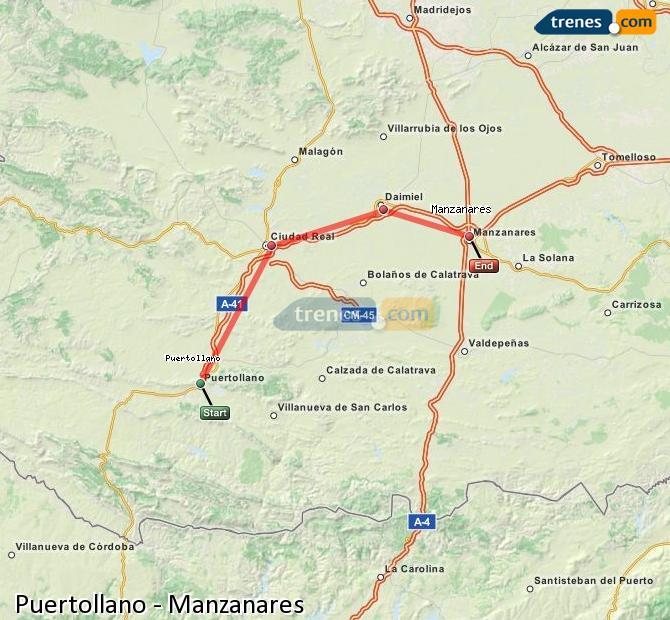 Ampliar mapa Comboios Puertollano Manzanares
