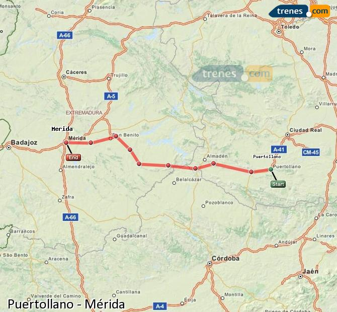 Ampliar mapa Trenes Puertollano Mérida