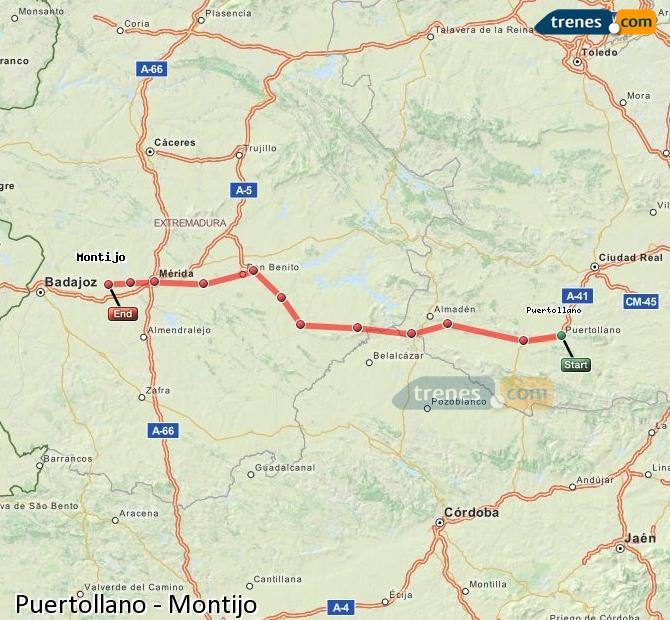 Ingrandisci la mappa Treni Puertollano Montijo