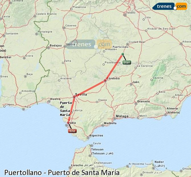 Enlarge map Trains Puertollano to Port of Santa Maria