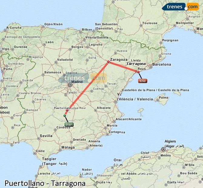 Ampliar mapa Trenes Puertollano Tarragona