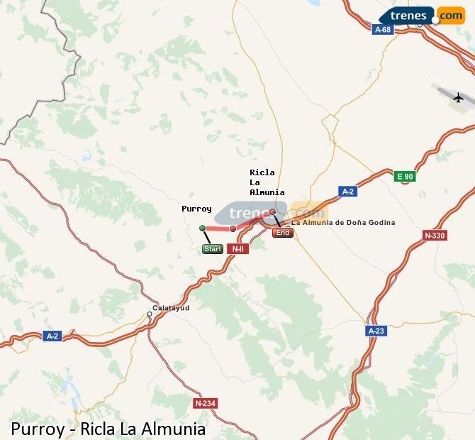Karte vergrößern Züge Purroy Ricla La Almunia