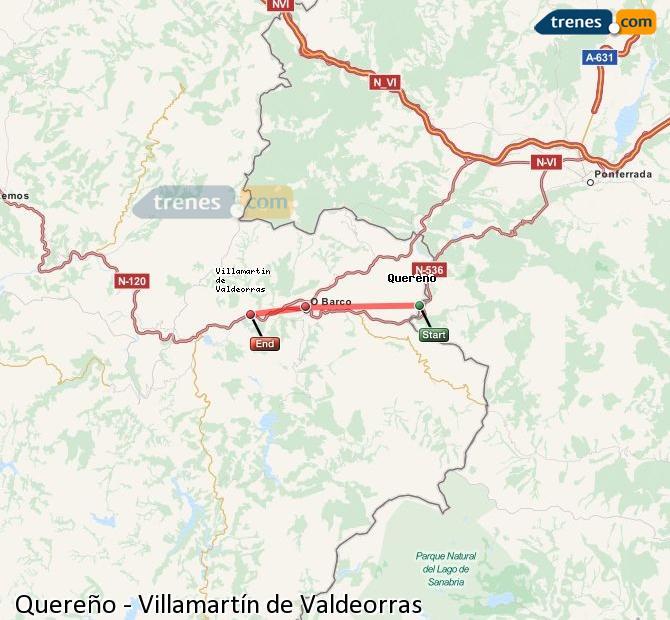 Enlarge map Trains Quereño to Villamartín de Valdeorras