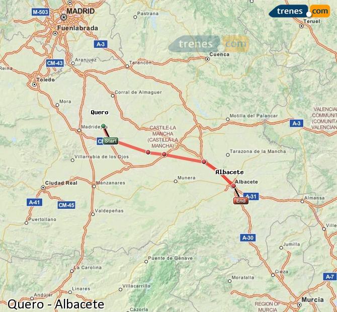 Enlarge map Trains Quero to Albacete