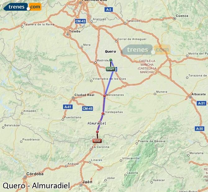 Enlarge map Trains Quero to Almuradiel