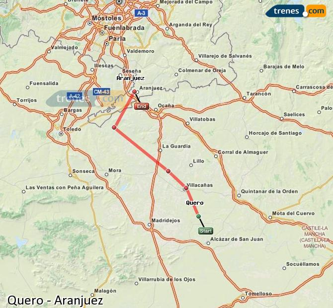 Enlarge map Trains Quero to Aranjuez