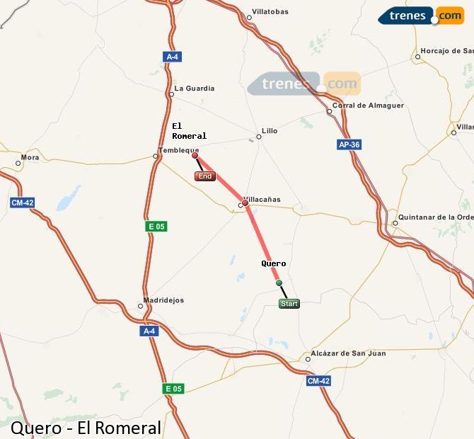 Karte vergrößern Züge Quero El Romeral