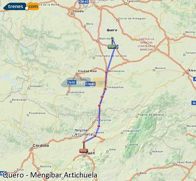 Karte vergrößern Züge Quero Mengíbar Artichuela