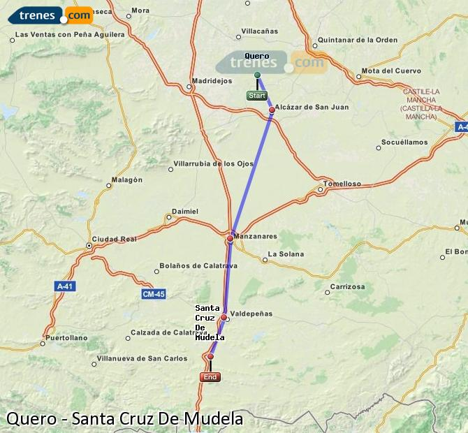 Enlarge map Trains Quero to Santa Cruz De Mudela