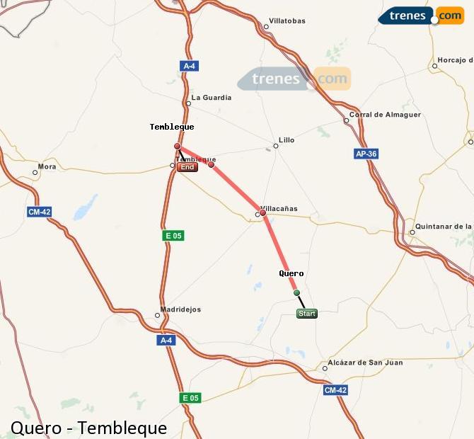 Ingrandisci la mappa Treni Quero Tembleque