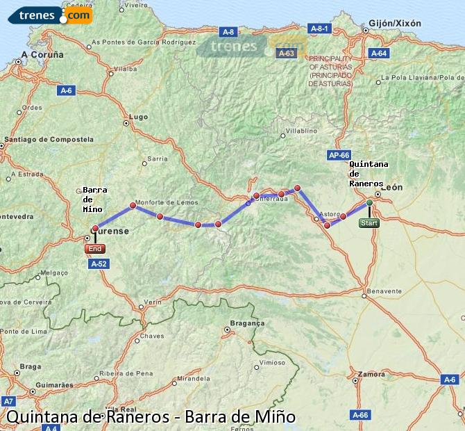 Ampliar mapa Trenes Quintana de Raneros Barra de Miño