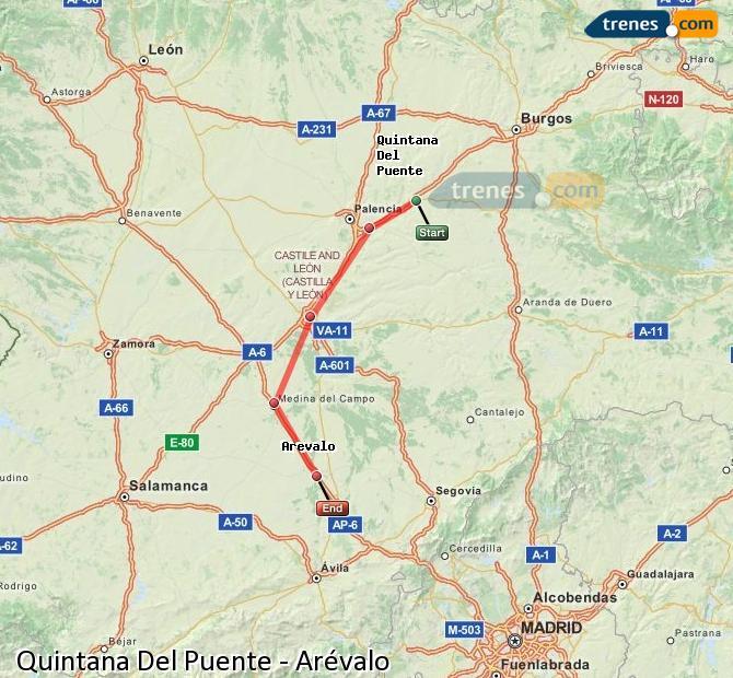Agrandir la carte Trains Quintana Del Puente Arévalo