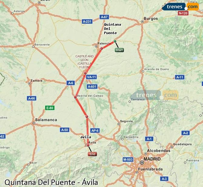 Enlarge map Trains Quintana Del Puente to Avila