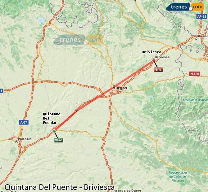 Enlarge map Trains Quintana Del Puente to Briviesca