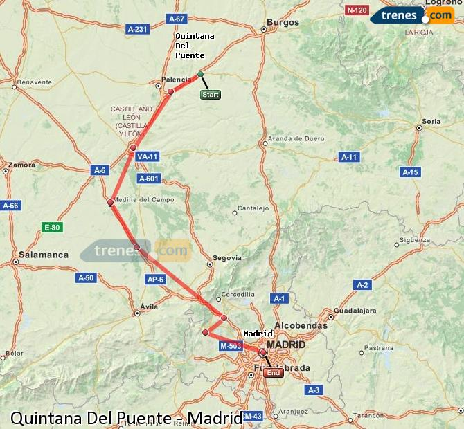 Enlarge map Trains Quintana Del Puente to Madrid