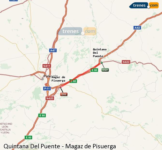 Enlarge map Trains Quintana Del Puente to Magaz de Pisuerga