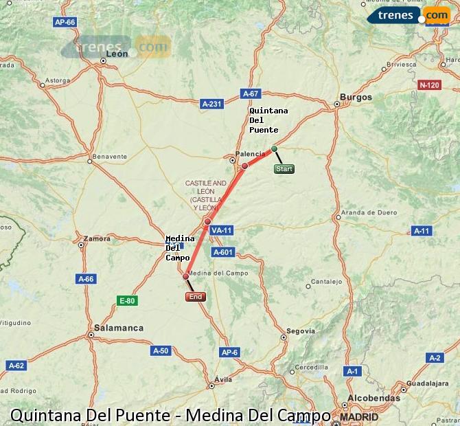 Agrandir la carte Trains Quintana Del Puente Medina Del Campo