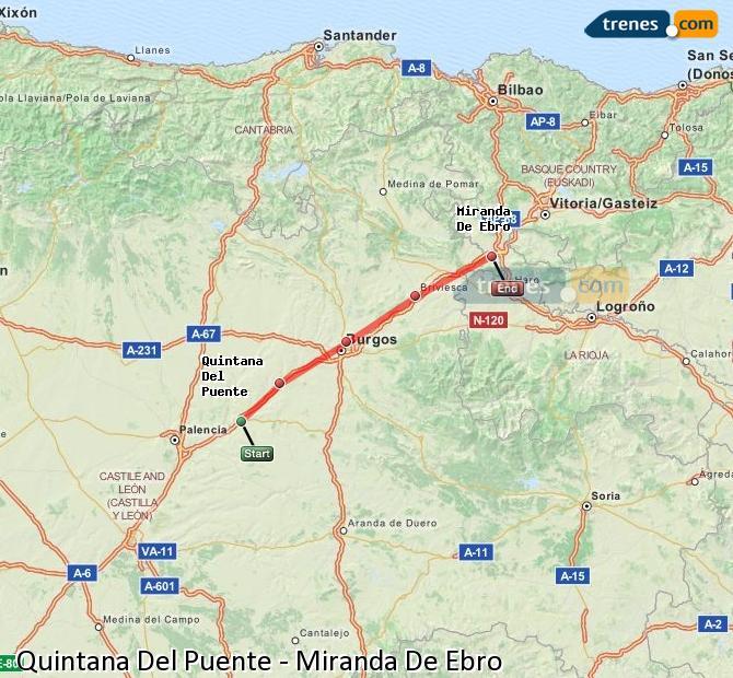 Agrandir la carte Trains Quintana Del Puente Miranda De Ebro