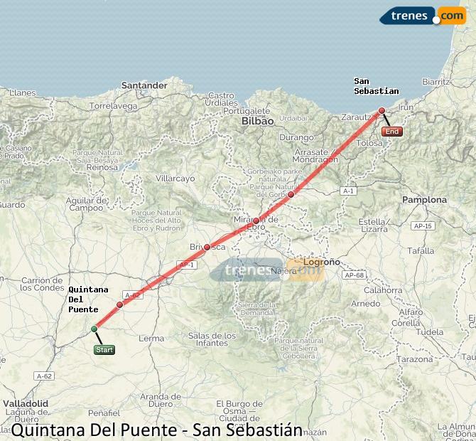 Agrandir la carte Trains Quintana Del Puente San Sebastián