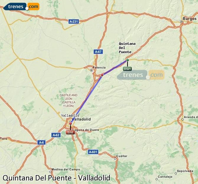 Agrandir la carte Trains Quintana Del Puente Valladolid