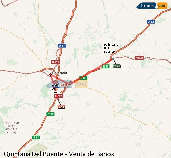 Karte vergrößern Züge Quintana Del Puente Venta de Baños