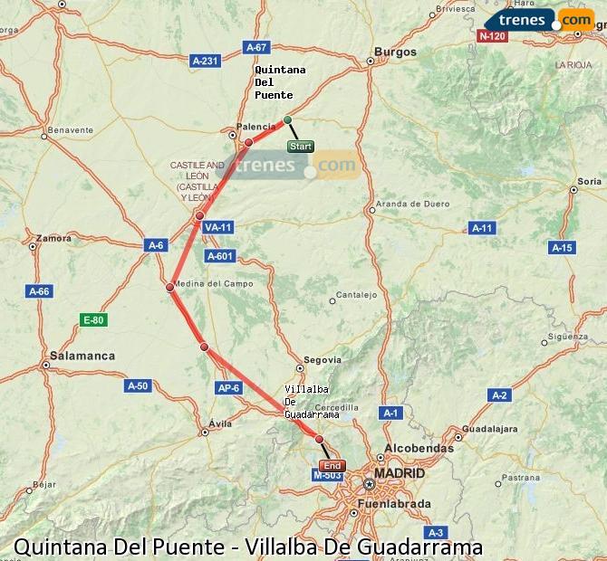 Enlarge map Trains Quintana Del Puente to Villalba De Guadarrama