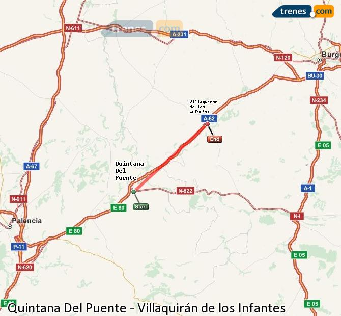 Enlarge map Trains Quintana Del Puente to Villaquirán de los Infantes