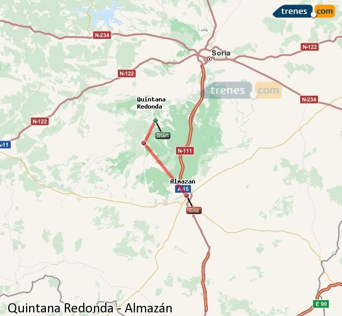 Ampliar mapa Trenes Quintana Redonda Almazán
