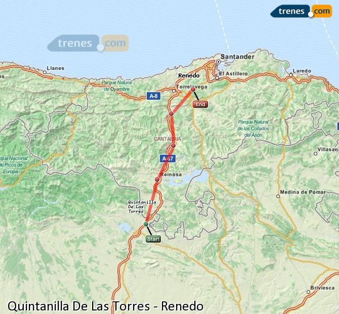 Enlarge map Trains Quintanilla De Las Torres to Renedo