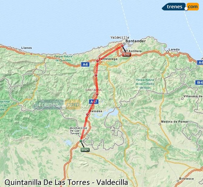 Ingrandisci la mappa Treni Quintanilla De Las Torres Valdecilla