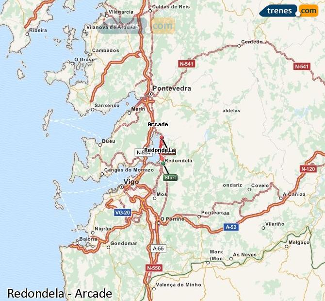 Karte vergrößern Züge Redondela Arcade
