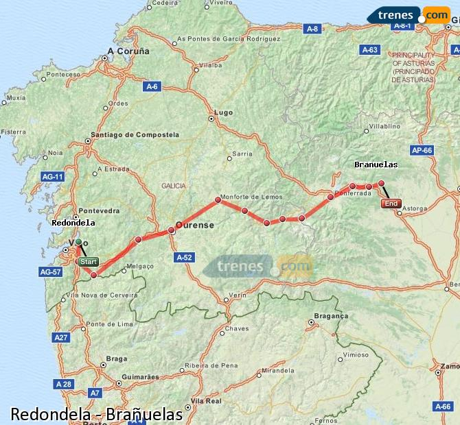 Enlarge map Trains Redondela to Brañuelas