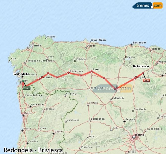Ingrandisci la mappa Treni Redondela Briviesca