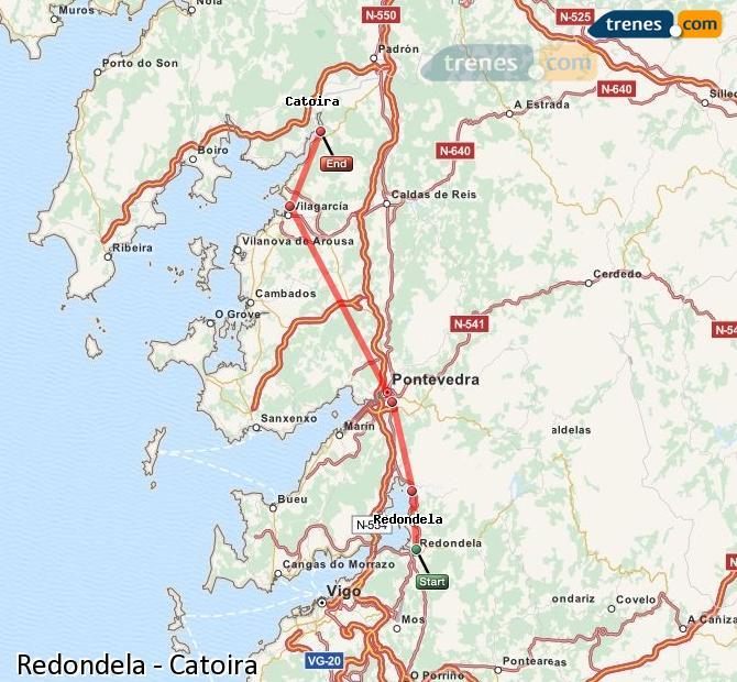 Ingrandisci la mappa Treni Redondela Catoira