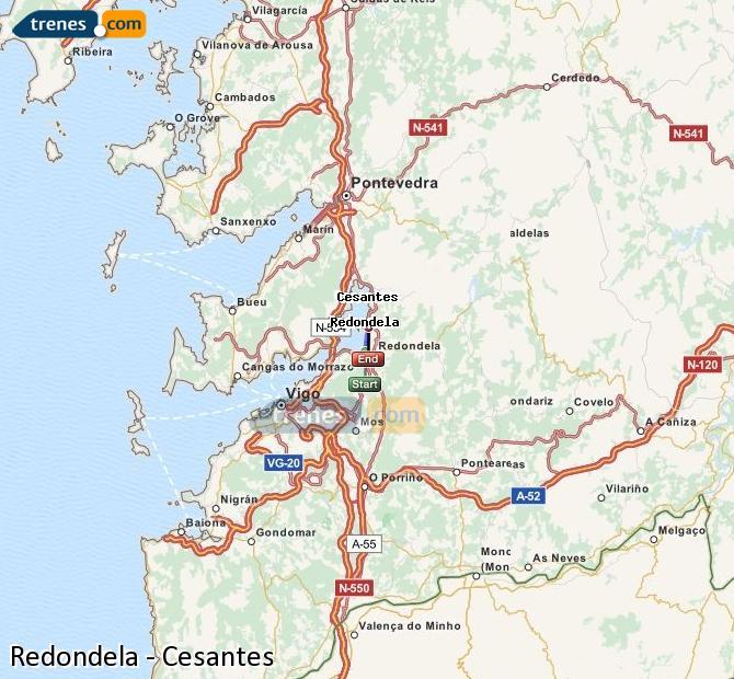 Ampliar mapa Comboios Redondela Cesantes