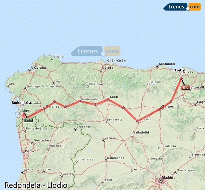 Karte vergrößern Züge Redondela Llodio