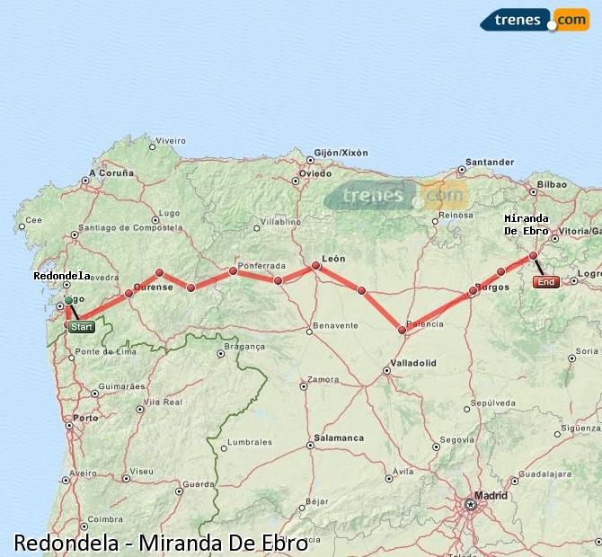 Karte vergrößern Züge Redondela Miranda De Ebro