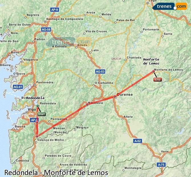 Agrandir la carte Trains Redondela Monforte de Lemos