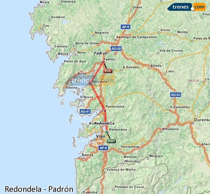 Enlarge map Trains Redondela to Padrón
